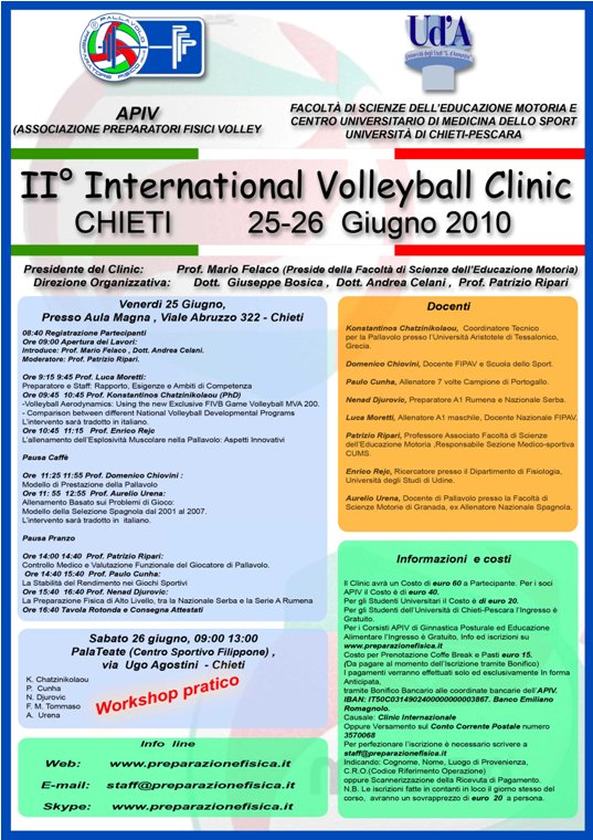 A Chieti il II International Volleyball Clinic